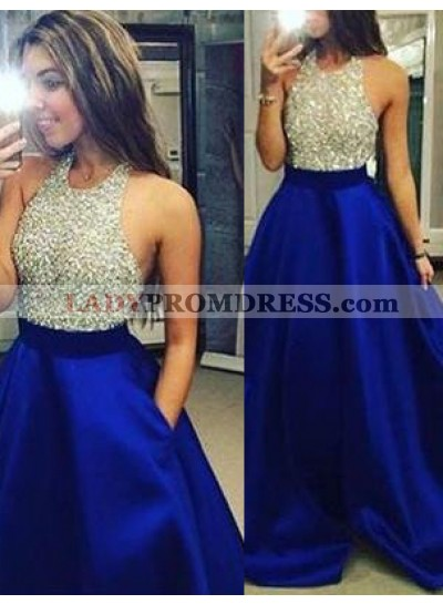 LadyPromDress 2019 Blue Beading Halter A-Line/Princess Satin Prom Dresses