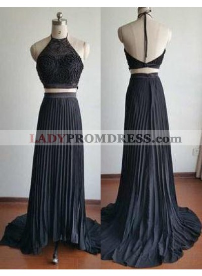 2019 Junoesque Black Sweep Train Halter Stretch Satin Two Pieces Prom Dresses