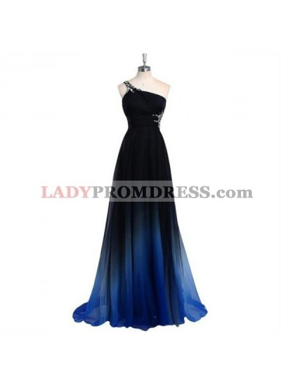 Prom Dresses One Shoulder Sweep/Brush Train Chiffon
