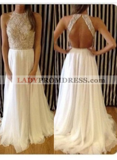2019 Unique White Prom Dresses A-Line/Princess Sweep/Brush Train Tulle