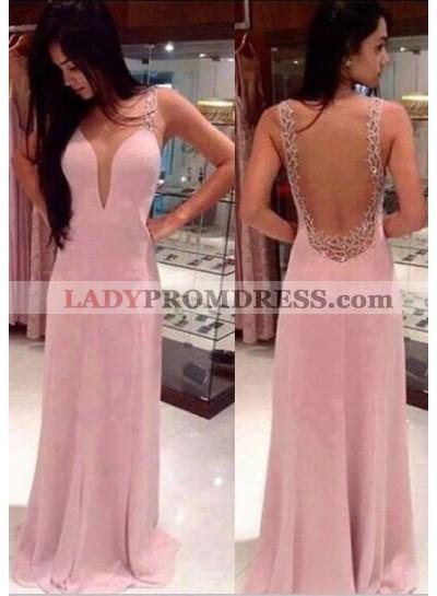 Prom Dresses Floor-Length/Long A-Line/Princess Straps Sweep/Brush Train Chiffon