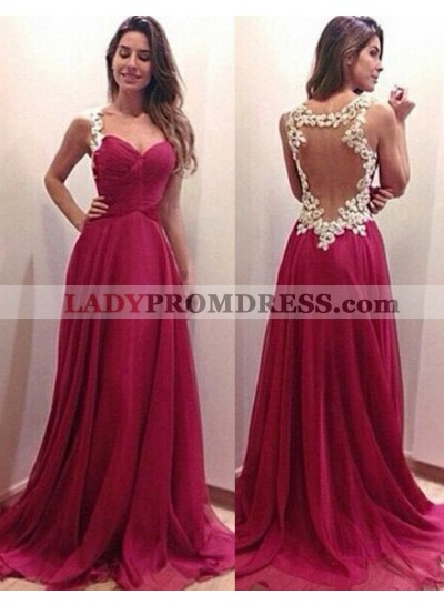 2019 Gorgeous Red Prom Dresses A-Line/Princess Straps Chiffon Embroidery