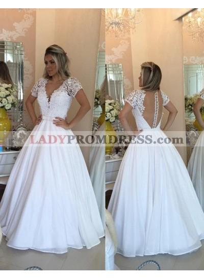2019 Unique White Prom Dresses Floor-Length/Long A-Line/Princess V-Neck Lace Spliced Chiffon