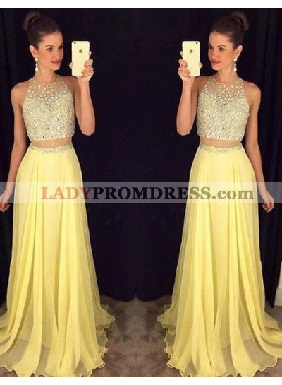 Prom Dresses Floor-Length/Long A-Line/Princess Sleeveless Zipper Chiffon