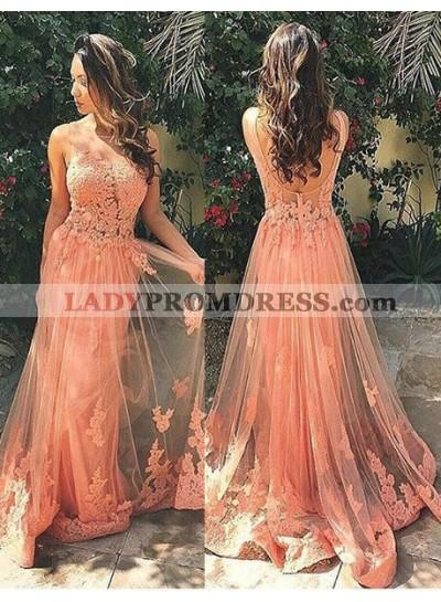 Prom Dresses Floor-Length/Long A-Line/Princess Straps Appliques Tulle