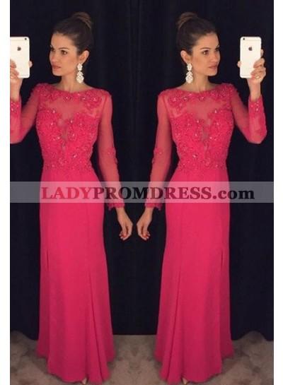 2021 Gorgeous Red Prom Dresses Column/Sheath Long Sleeve Chiffon