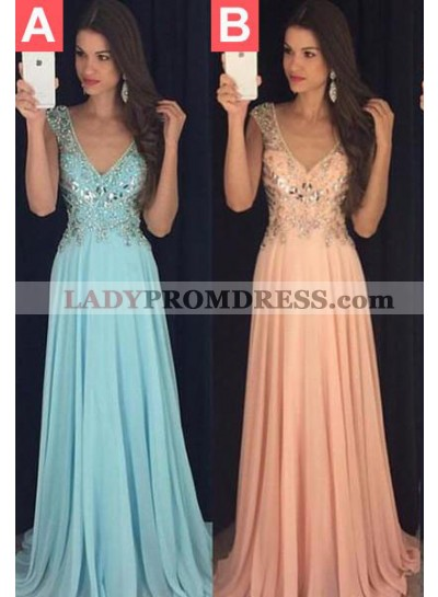 LadyPromDress 2020 Blue Prom Dresses Floor-Length/Long A-Line/Princess V-Neck Sequins Chiffon