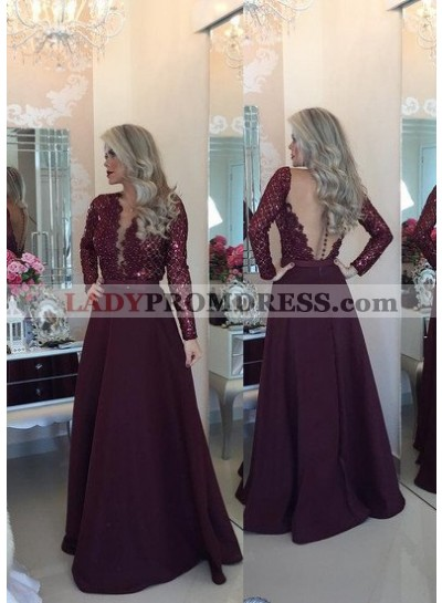 Burgundy Prom Dresses Floor-Length/Long A-Line/Princess V-Neck Lace Spliced  Satin
