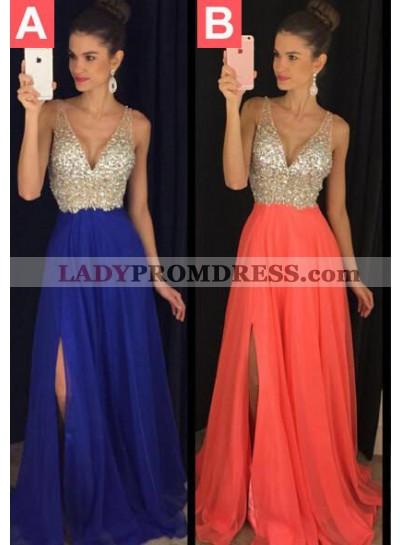 Prom Dresses Royal Blue Floor-Length/Long A-Line/Princess Straps Sequins Chiffon