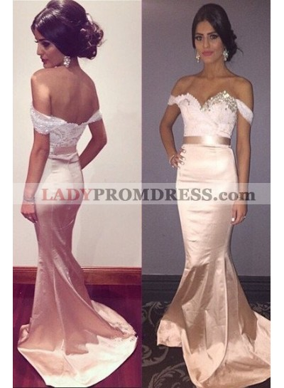 Floor-Length/Long Off-the-Shoulder Mermaid/Trumpet Taffeta Pearl Pink Prom Dresses