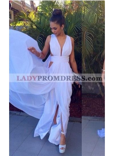 2019 Unique White Ruching High-Slit A-Line/Princess Chiffon Prom Dresses