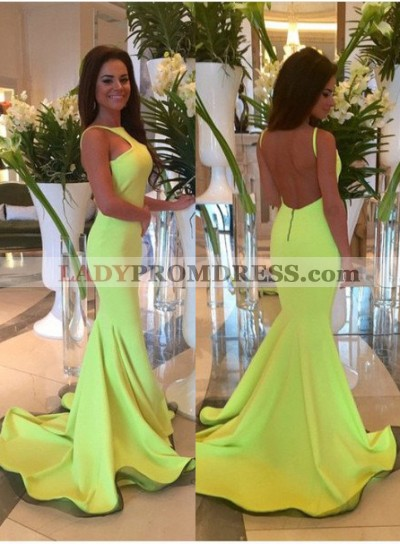 Straps Mermaid/Trumpet Yellow Satin  Prom Dresses