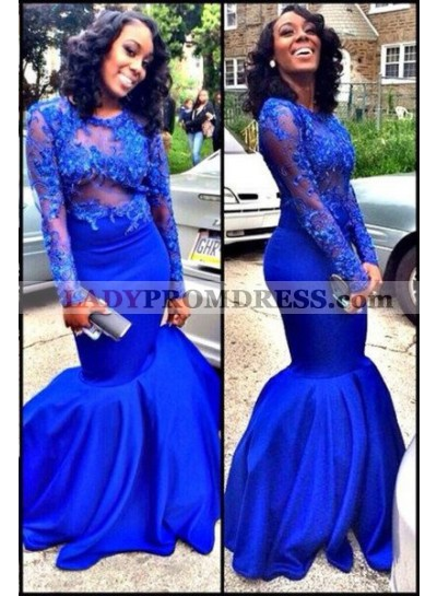 LadyPromDress 2019 Blue Illusion Appliques Mermaid/Trumpet Satin Prom Dresses