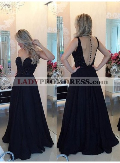 2021 Junoesque Black Beading A-Line/Princess Satin Prom Dresses