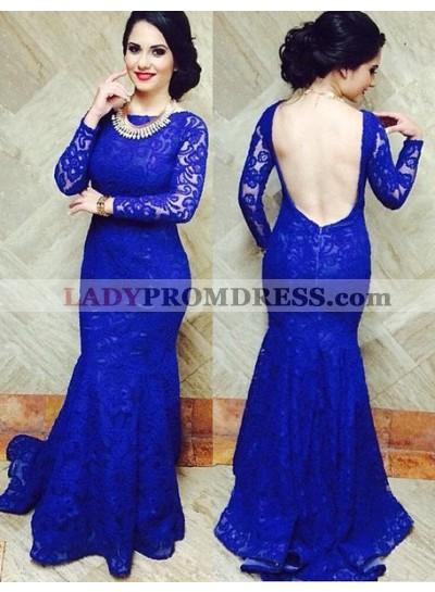 LadyPromDress 2019 Blue Bateau Neck Mermaid/Trumpet Lace Prom Dresses