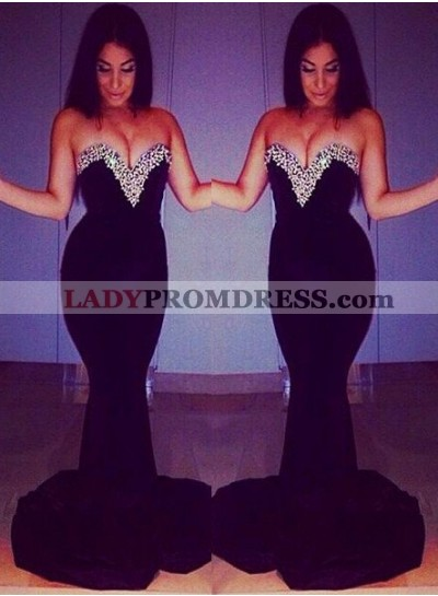2019 Junoesque Black Floor-Length/Long Mermaid/Trumpet Sequins Sweetheart Chiffon Prom Dresses