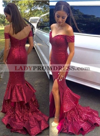 Burgundy Floor-Length/Long Mermaid/Trumpet Off-the-Shoulder Sequined Prom Dresses