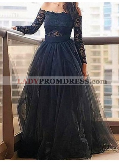 LadyPromDress 2019 Blue Floor-Length/Long A-Line/Princess Lace Long Sleeve Off-the-Shoulder Tulle Prom Dresses