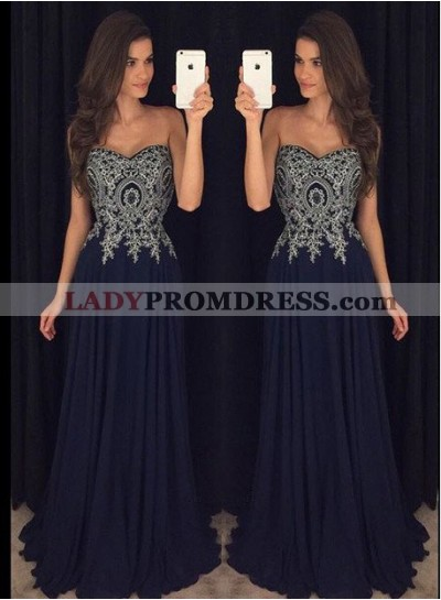 Floor-Length/Long A-Line/Princess Sweetheart Zipper Chiffon Prom Dresses