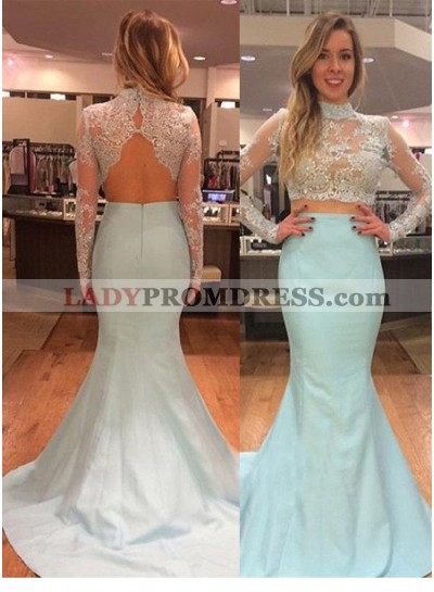 LadyPromDress 2021 Blue Cheap Prom Dresses Floor-Length/Long Mermaid/Trumpet High Neck Taffeta