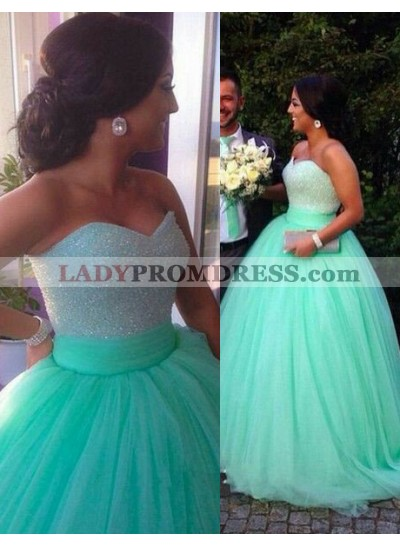 Floor-Length/Long Ball Gown Sweetheart Tulle LadyPromDress 2019 Blue Prom Dresses
