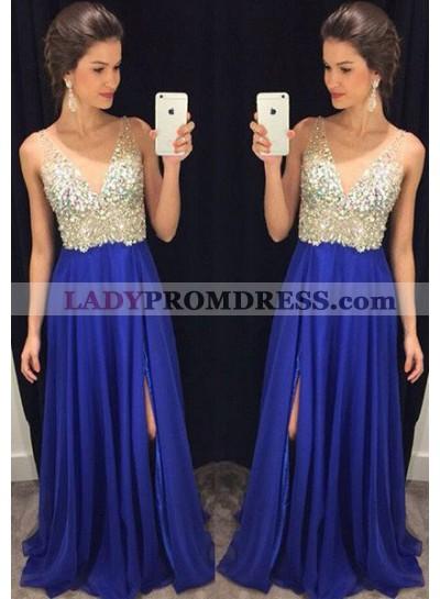 Royal Blue Floor-Length/Long A-Line/Princess V-Neck Sequins Chiffon Prom Dresses