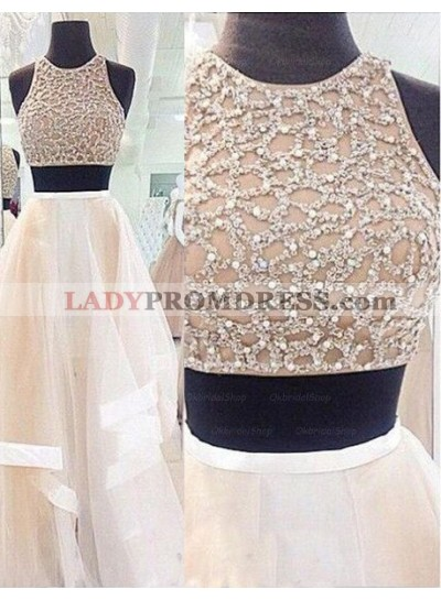 Floor-Length/Long A-Line/Princess Sleeveless Sequins Tulle Prom Dresses