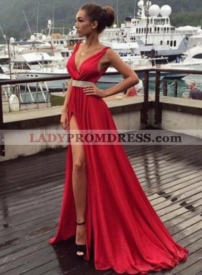 2020 Gorgeous Red Floor-Length/Long V-Neck Split Front Beading Chiffon Prom Dresses