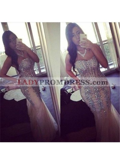 Beading Sweetheart Mermaid/Trumpet Tulle Champagne Prom Dresses