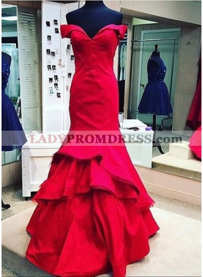 2019 Gorgeous Red Floor-Length/Long Mermaid/Trumpet Off-the-Shoulder Satin Prom Dresses