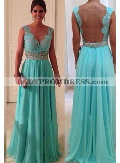 Lace Scalloped A-Line/Princess Chiffon Prom Dresses