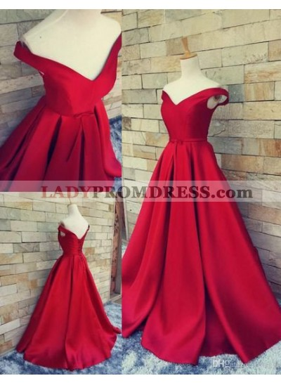 2021 Gorgeous Red Off-the-Shoulder A-Line/Princess Satin Prom Dresses