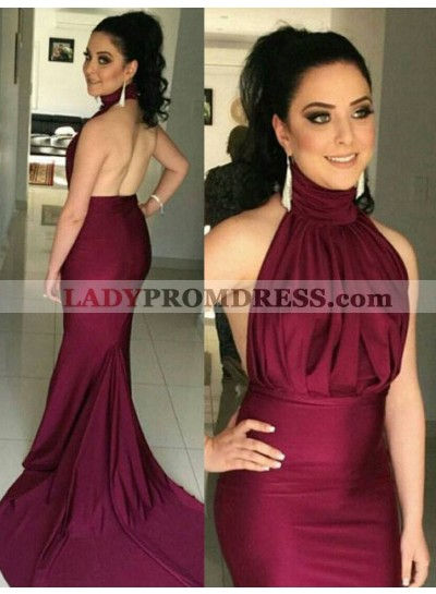 Mermaid/Trumpet High Neck Sleeveless Natural Backless Court Train Burgundy Prom Dresses