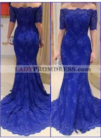 Royal Blue A-Line/Princess Off-the-Shoulder Half Sleeves Natural Zipper Sweep/Brush Train Lace Prom Dresses