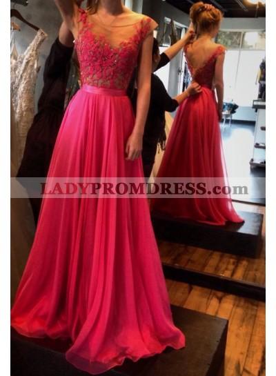 A-Line/Princess V-Neck Capped Sleeves Natural Zipper Chiffon Fuchsia Prom Dresses