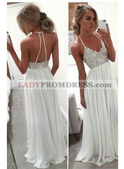 2021 Unique White Column/Sheath Spaghetti Straps Sleeveless Natural Backless Floor-Length/Long Chiffon Prom Dresses