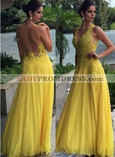 A-Line/Princess V-Neck Sleeveless Natural Zipper Floor-Length/Long Chiffon Yellow Prom Dresses
