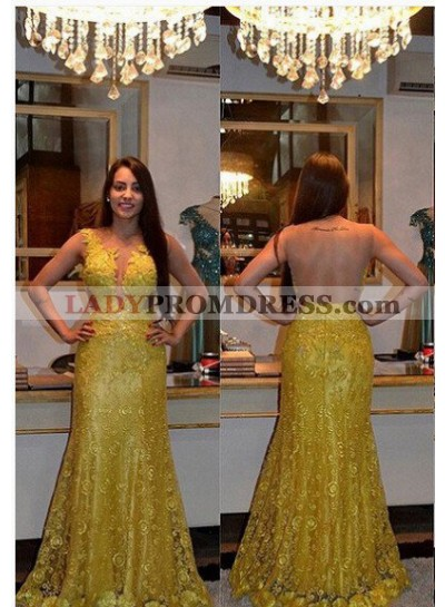 Column/Sheath Sleeveless Natural Zipper Lace Gold Prom Dresses