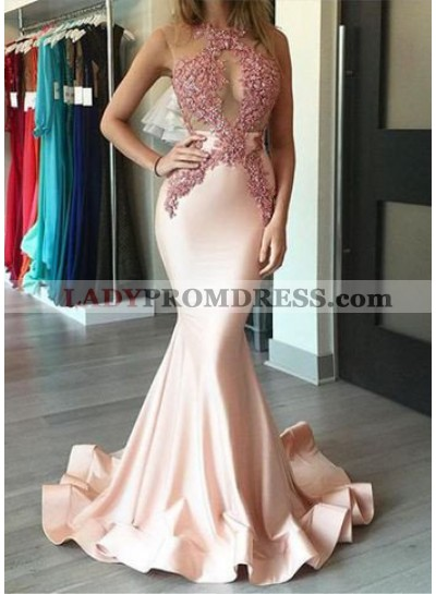 Mermaid/Trumpet Jewel Sleeveless Natural Backless Stretch Satin Prom Dresses