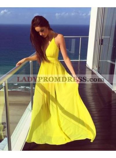 Spaghetti Straps A-Line/Princess Chiffon Yellow Prom Dresses