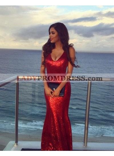 2021 Gorgeous Red Scoop Neck Sleeveless Trumpet Prom Dresses
