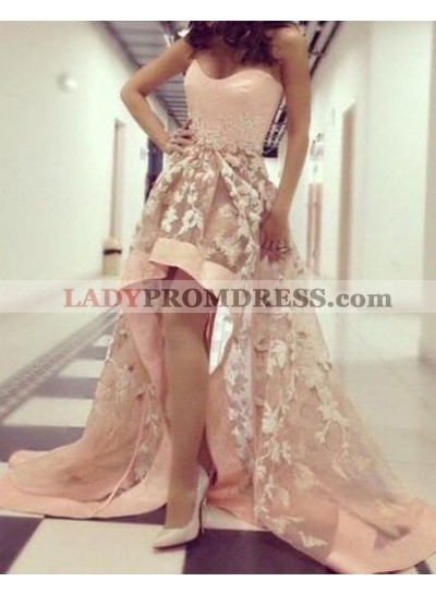 Appliques Sweep Train High-Low Tulle Prom Dresses