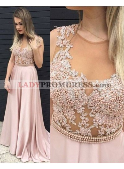 A-Line/Princess Round Neck Sleeveless Natural Sweep/Brush Train Prom Dresses