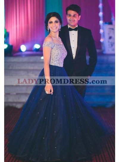 LadyPromDress 2019 Blue A-Line/Princess Off-the-Shoulder Natural Tulle Beading Prom Dresses