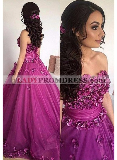A-Line/Princess Strapless Sleeveless Natural Sweep/Brush Train Fuchsia Prom Dresses