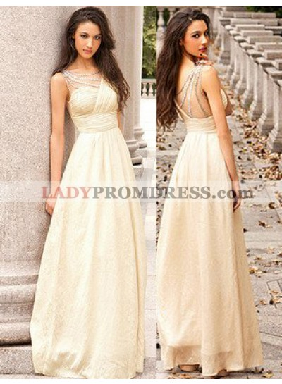 A-Line/Princess Sleeveless Empire Backless Floor-Length/Long Chiffon Ivory Prom Dresses