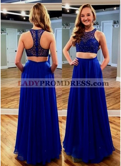 Royal Blue Two Pieces Sleeveless Floor-Length/Long Lace Beading Prom Dresses