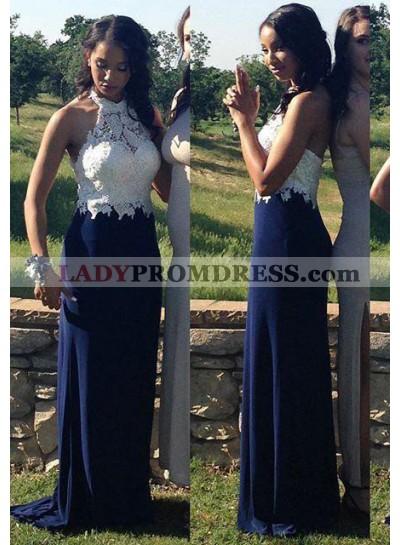 LadyPromDress 2019 Blue A-Line/Princess Halter Sleeveless Lace Backless Natural Prom Dresses