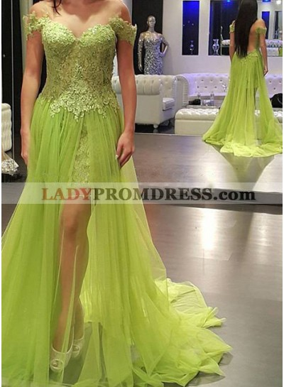 Off-the-Shoulder Sleeveless Natural Zipper Tulle Prom Dresses