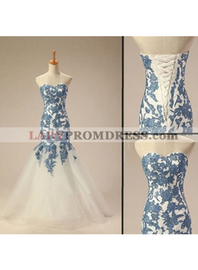 Mermaid/Trumpet Sweetheart Sleeveless Natural Lace-up Tulle Prom Dresses
